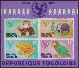 F-EX22246 TOGO MNH 1971 25 ANIV UNICEF TOYS MONKEY PARROT BIRD ELEPHANT TURTLE.