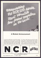 "1965 NCR 500 Series Computer System photo ""Most Versatile"" vintage print ad"