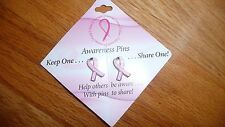 Breast Cancer Awareness Pink Ribbon Tac Pin on Card Set of 2 Keep one, share one