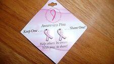Breast Cancer Awareness PINK RIBBON TAC PIN on Card  2 pack