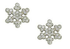0.24 ct F VS round diamond snowflake earrings 14k white gold push backs 10mm