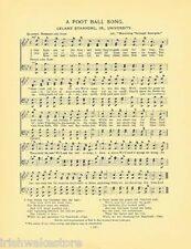 """STANFORD UNIVERSITY Sports Song c1906 """"A Football Song"""" Original"""