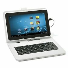 "New Micro USB Keyboard Folio Cover Stand Case for 9"" inch Android Tablet -White"
