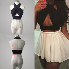 Ladies Plunge V Neck Strappy Cross Back Bandage Cut Out Crop Top Party Bralet UK
