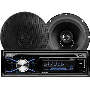 """Boss Car Stereo Package Head Unit Single DIN 6.5"""" Speakers Wireless Remote BT"""