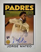 2021 Series 1 1986 Topps Baseball Auto #86A-JMA Jorge Mateo RC- San Diego Padres