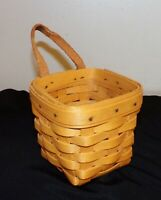"""Longaberger CHIVES BASKET leather hanger Cute for bathroom & so much more 3 1/2"""""""