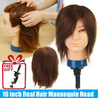 """16"""" 100% Real Hair Practice Training Men Head Mannequin Hairdressing Doll+Clamp"""