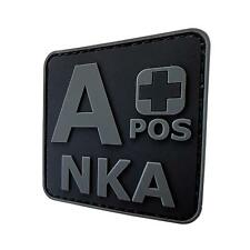 APOS a+ NKA PVC rubber ACU all black subdued blood type parche hook patch