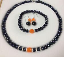 Natural Black Akoya Cultured Pearl/Orange Jade bracelets necklace earrings set