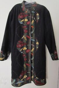 Koos of Course Reversible Embroidered Appliquéd Black Faux Suede Coat XL