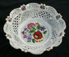 KALOCSA Hungary Hand Painted Open BASKET WEAVE Reticulated Porcelain BOWL