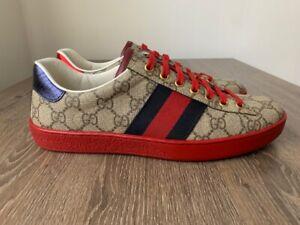Gucci Men Ace GG Leather Monogram Supreme Sneakers Size 40