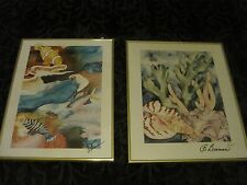 B. Braman Two Tropical Fish Prints Signed Matted Framed