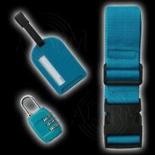 3-teiliges SET Koffergurt Zahlenschloß Gepäckanhänger TÜRKIS Gepäckgurt Security