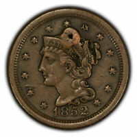 1852 1c Braided Hair Large Cent - XF/AU Details - SKU-Y2835