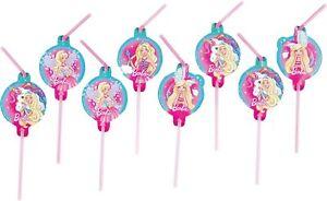 Barbie Dreamtopia 8 Drinking Straws Child/Kids Birthday Party Tableware Supplies