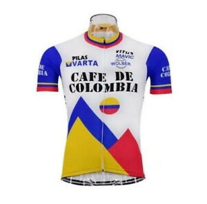 Mens Team Retro 1986 CAFE DE COLOMBIA Cycling Jerseys Short Sleeve