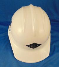 White plastic HARD HAT Louis ARA Real Estate adjustable inner strap outdoor work