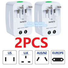 2PC US to EU Europe & Universal AC Power Plug Travel Adapter Converter Worldwide