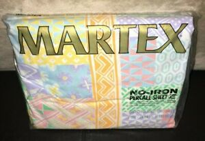 NEW Vintage Martex California King Fitted Sheet 90's Pastel Floral Geometric