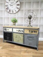 Industrial retro urban loft metal 6 drawer low sideboard TV unit office home