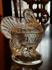 Vintage Clear Glass Turkey On Nest Covered Candy Dish 2 Piece LE Smith