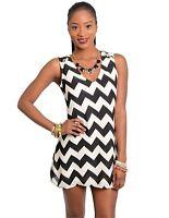 NEW Women's Black White Chevron Silky Mini Dress Large L