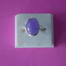 BEAUTIFUL OVAL PURPLE JADE IN 925 STERLING SILVER RING GR. 3.5 SIZE N12 IN BOX