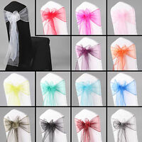 10PCS Organza Sashes Chair Cover Bow Sash WIDER FULLER BOWS Wedding Party