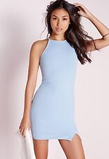 MISSGUIDED LIGHT BLUE SQUARE NECK BODYCON DRESS 10 BNWT