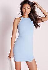 Missguided Luz Azul Vestido Ceñido al cuerpo cuello cuadrado 10 BNWT