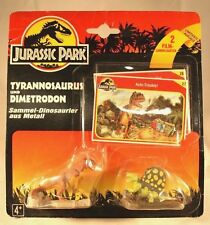 Vintage Jurassic Park 1993 Tyrannosaurus and Dimetrodon 2 piece set with cards
