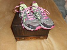 ASICS GEL-VENTURE 5 WOMEN'S BLACK AND LIGHT GREEN AND PINK GYM SHOES SIZE 10