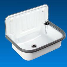 Ausgussbecken Waschbecken Stahl mit Auslaufventil Waschküche Keller Set weiß