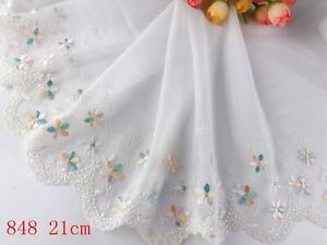 """8""""*1yard Delicate Embroidered flower  tulle Lace Trim sewing Craft DIY 848"""