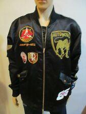 Men's Reason Black Satin Jacket with Patches size XXL 2XL