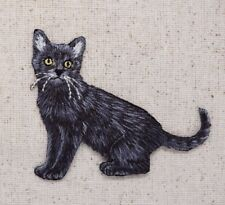 Black Cat/Kitten Full Body/Facing Left/Pets Iron on Applique/Embroidered Patch