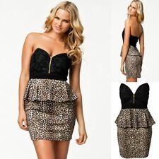 Sz 8 10 Black Leopard Lace Strapless Cocktail Party Wear Club Formal Dress