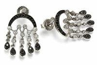 1.1 ctw Natural Diamond Solid 14k White Gold Chandelier Dangle Earrings (28 MM)