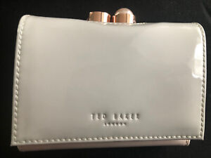 Ladies Ted Baker Alix Pearl Bobble Patent Small Purse Light Grey