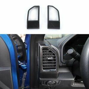 Carbon Fiber ABS Inner Dashboard Side Air Vent Cover Frame For Ford F150 2015-18
