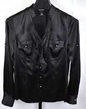 White House Black Market Black Ruffled Silk Blouse Size 10