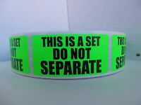 THIS IS A SET DO NOT SEPARATE FBA Warning Sticker Label green fluorescent 250/rl