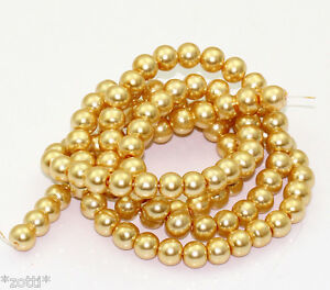 40 Pièce Perles Verre Vif 8mm Champagne Or Perles de Cire Perles en Verre