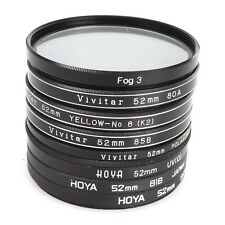 >[Set of 8] 52mm Lens Filters - UV/PL/1B/80A/81B/85B/K2/Fog 3