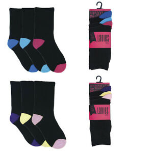 SK242 3 PACK ONE SIZE FIT 4-7 COLORFUL TOE AND HEELS LADIES SOCKS