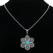 Lady Tibet Silver Chain Jewelry Flower Heart Turquoise Crystal Pendant Necklace