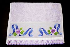 "CROSS STITCH FINGERTIP TOWEL ""PURPLE FLOWERS"""
