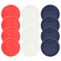 Pyrex 7201-PC 4 Cup (4) Red, (4) White, (4) Blue Round Plastic Lid Covers 12PK